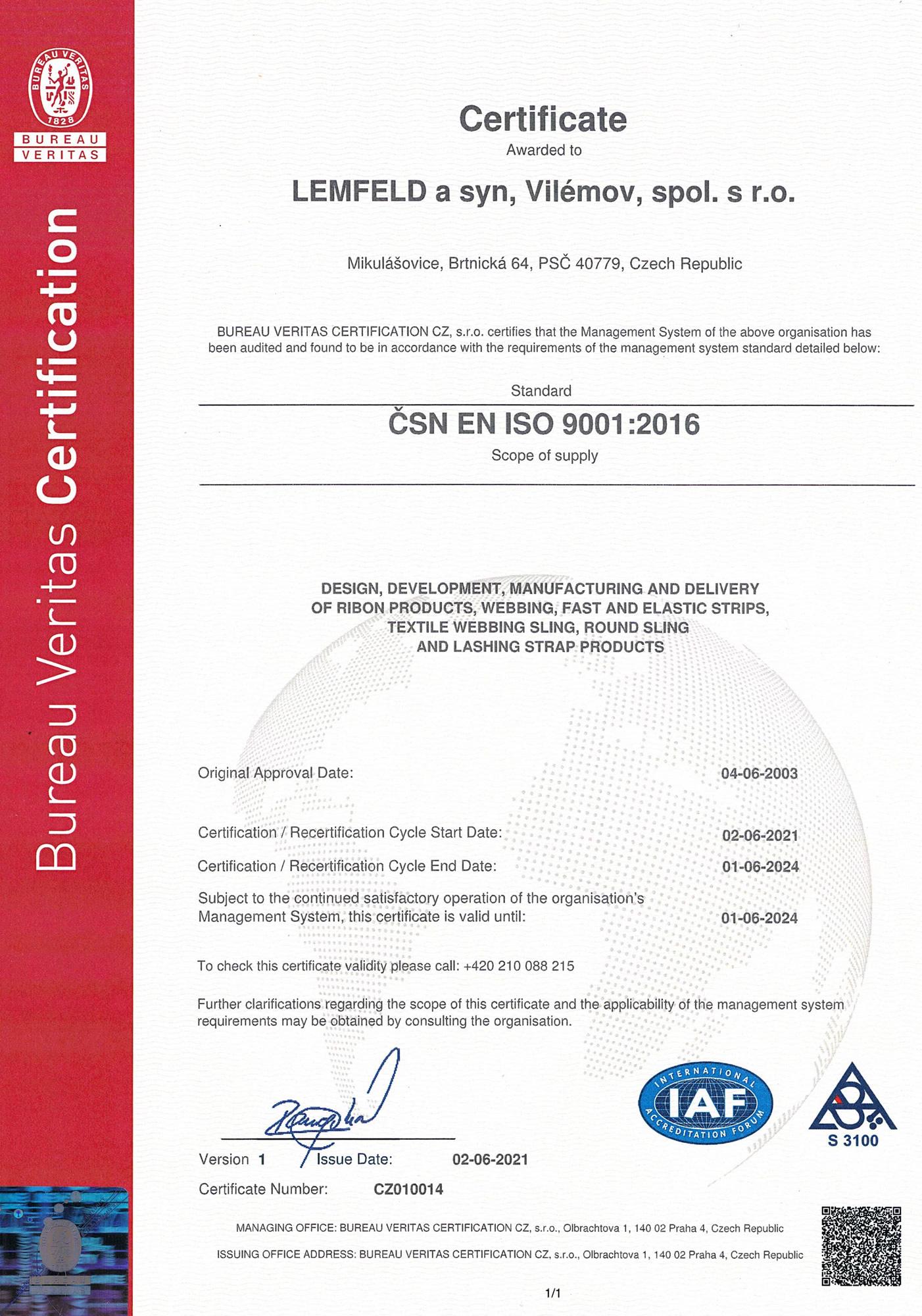 ČSN EN ISO 9001:2016